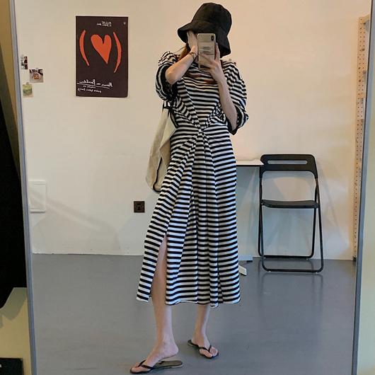 美的輕鬆2way條紋休閒長洋裝