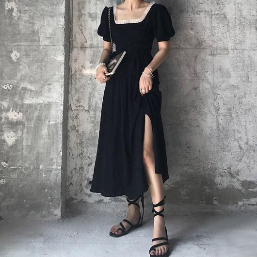 維也納香頌女神風方領開衩收腰洋裝