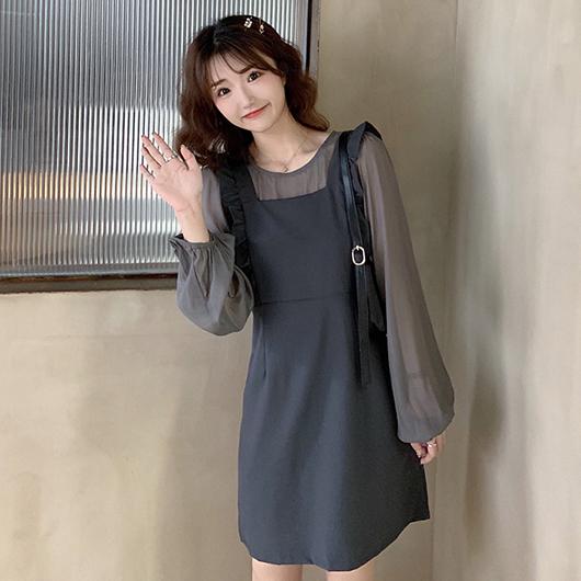 輕甜減齡荷葉背心裙透膚薄長袖套裝