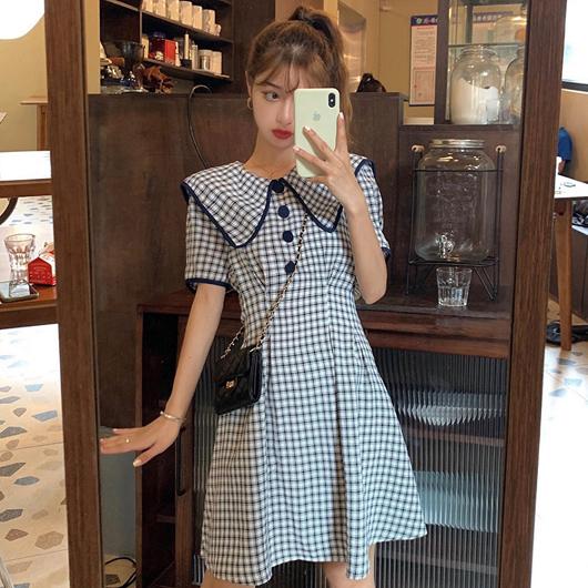 復古黑白格少女收腰洋裝