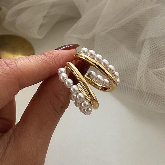925銀針珍珠圈圈金屬耳環