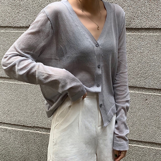 多色V領寬鬆透膚薄長袖外套