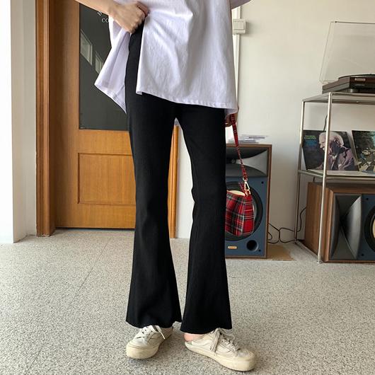 多色小喇叭羅紋休閒長褲