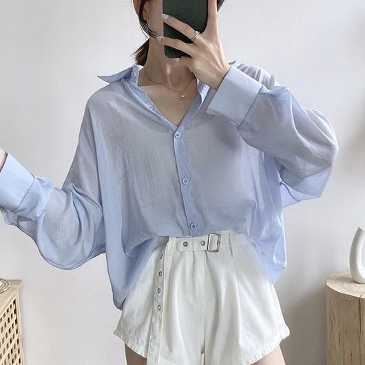 多色微光透膚襯衫上衣
