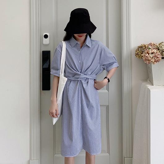 小細條造型綁帶襯衫洋裝