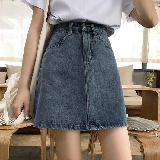 復古刷色高腰牛仔短裙