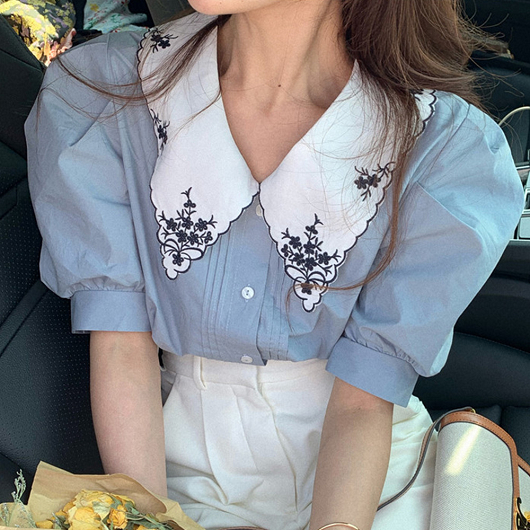 優雅刺繡造型領公主袖上衣