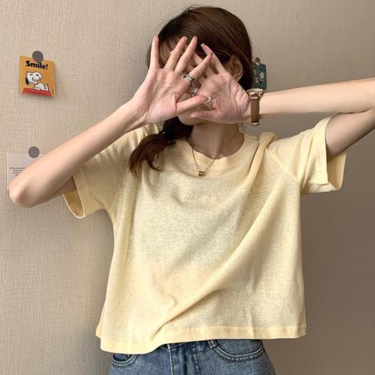 多色戀愛小心心竹節短版棉T上衣