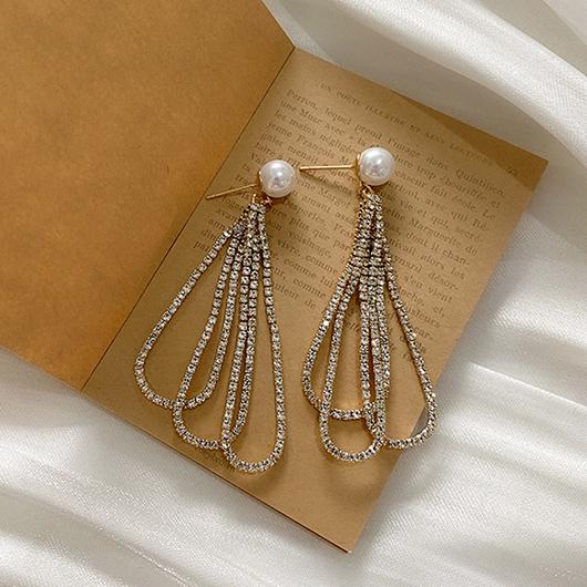 925銀針華麗的法則鑽石流蘇耳環