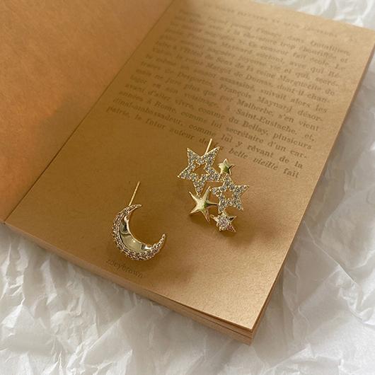 925銀針星辰月光鑽石耳環