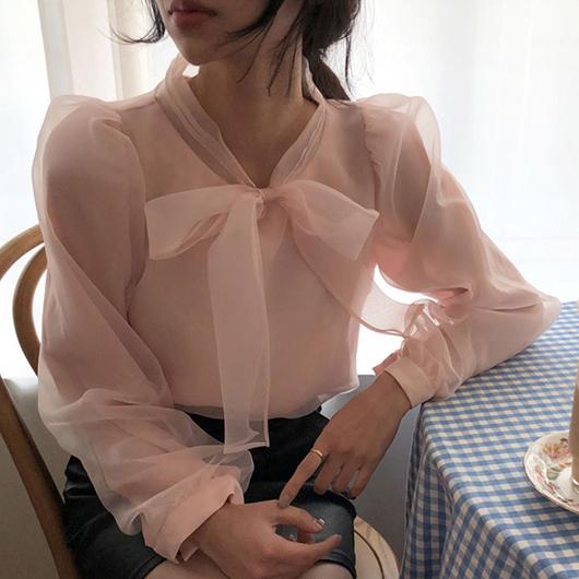 初戀粉色系蝴蝶結上衣