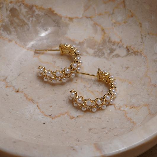 925銀針璀璨的懷抱珍珠耳環