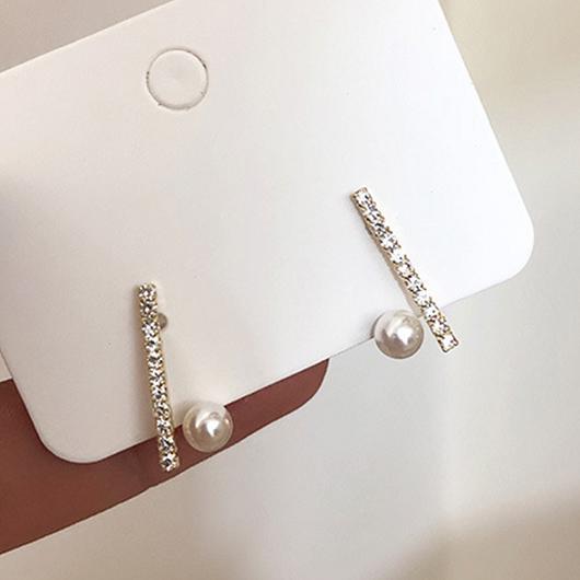 925銀針交錯的頻率鑽石珍珠耳環