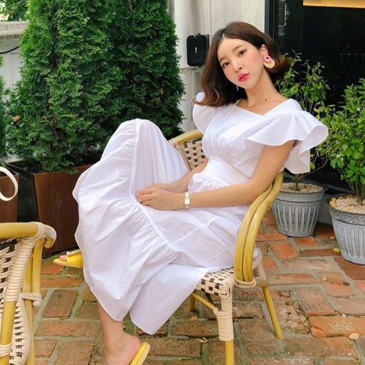 羅馬假期飛袖美背綁帶洋裝