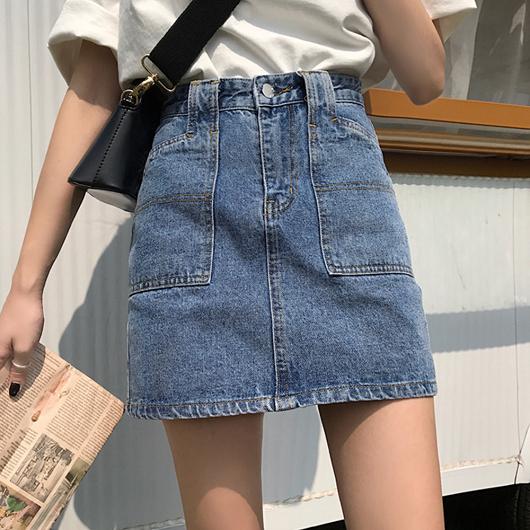 造型口袋刷色牛仔A字裙