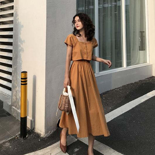 法式純色方領大圓裙套裝