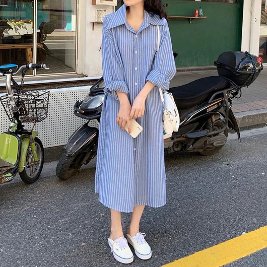 法式簡約藍白條襯衫洋裝