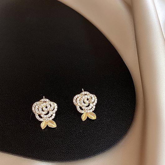 925銀針玫瑰少年耳環