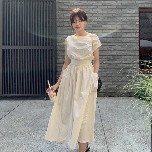 法式優雅斜領露肩洋裝