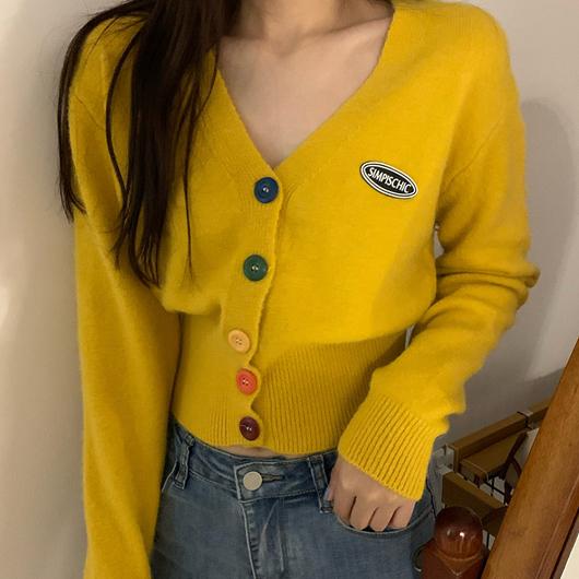 多色彩虹糖針織開襟外套/上衣