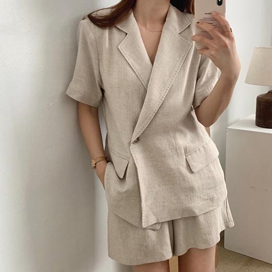 縫線棉麻短袖西裝外套