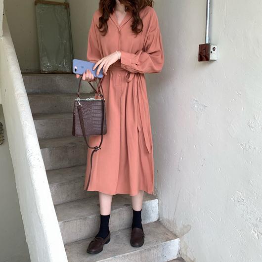 多色半襟開衩襯衫洋裝