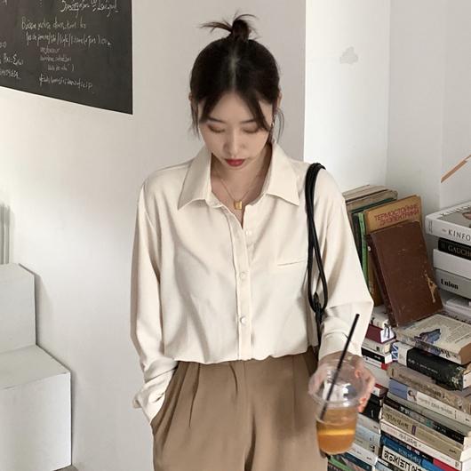 多色簡約純色襯衫上衣