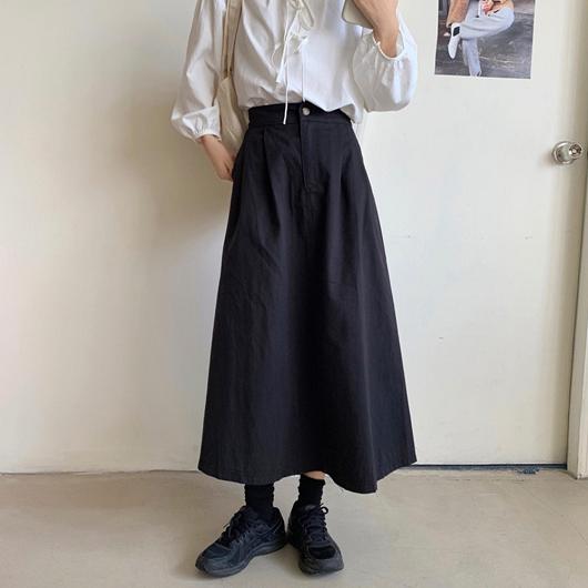 簡約百搭日系A字長裙