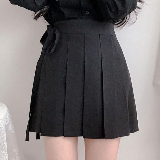 多色高腰綁帶百褶裙