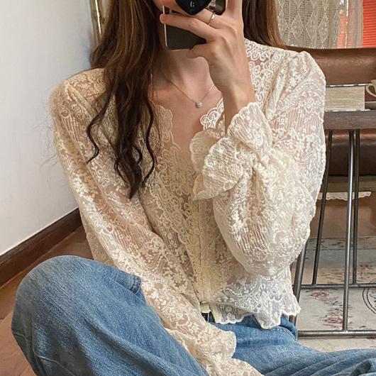 精緻蕾絲刺繡V領上衣