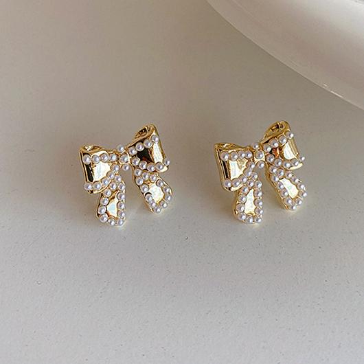 925銀針珍珠蝴蝶結耳環