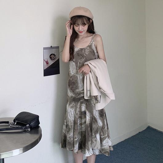 水墨暈染雲紋吊帶洋裝