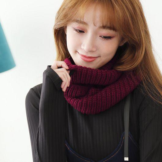 多彩素色保暖毛線圍脖