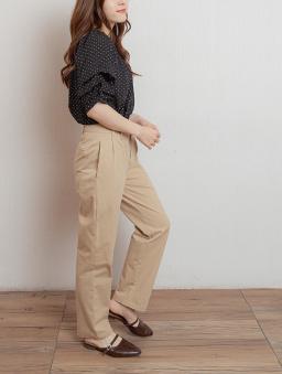 簡約OL雙排釦抓皺設計長褲-卡其
