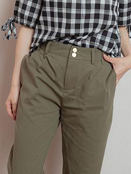 簡約OL雙排釦抓皺設計長褲-軍綠