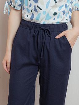 都會美人腰鬆緊綁帶雙口袋長褲-深藍