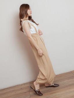 優雅魅力直條紋細肩綁帶連身褲/長褲-杏