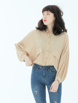 OL最愛多色雙假口袋排釦襯衫/上衣-杏
