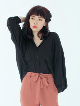 OL最愛多色雙假口袋排釦襯衫/上衣-黑