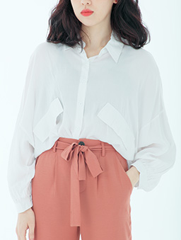 OL最愛多色雙假口袋排釦襯衫/上衣-白色