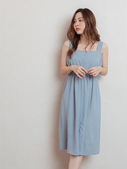 微甜氣息方領假排釦收腰洋裝-藍