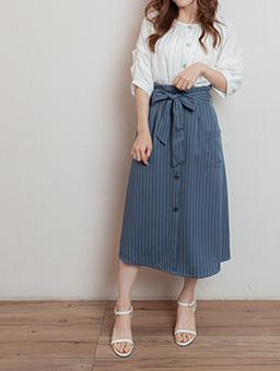職場時尚高腰直條紋假排釦附綁帶長裙-藍灰