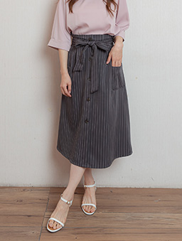 職場時尚高腰直條紋假排釦附綁帶長裙-深灰