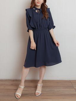 高雅氣質荷葉邊蝴蝶結領多色洋裝-深藍