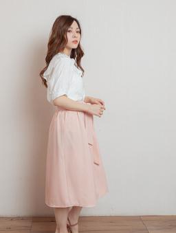 休閒韓風綁帶後拉鍊中長裙-粉色