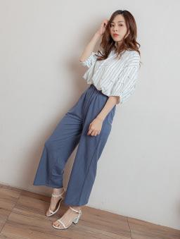 魅力百搭腰鬆緊舒適寬褲/長褲-藍
