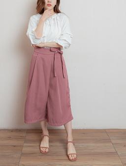 舒適生活側綁帶雙口袋寬褲/褲裙-紫