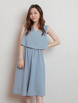 時尚韓妞飄逸雪紡縮腰排釦洋裝-藍