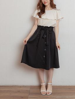 氣質女伶腰鬆緊附綁帶假排釦中長裙-黑