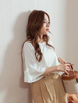 MIT棉花糖甜甜荷葉袖寬鬆落肩舒適上衣-白色